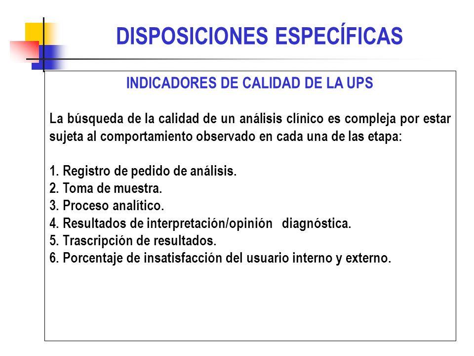 INDICADORES DE CALIDAD DE LA UPS