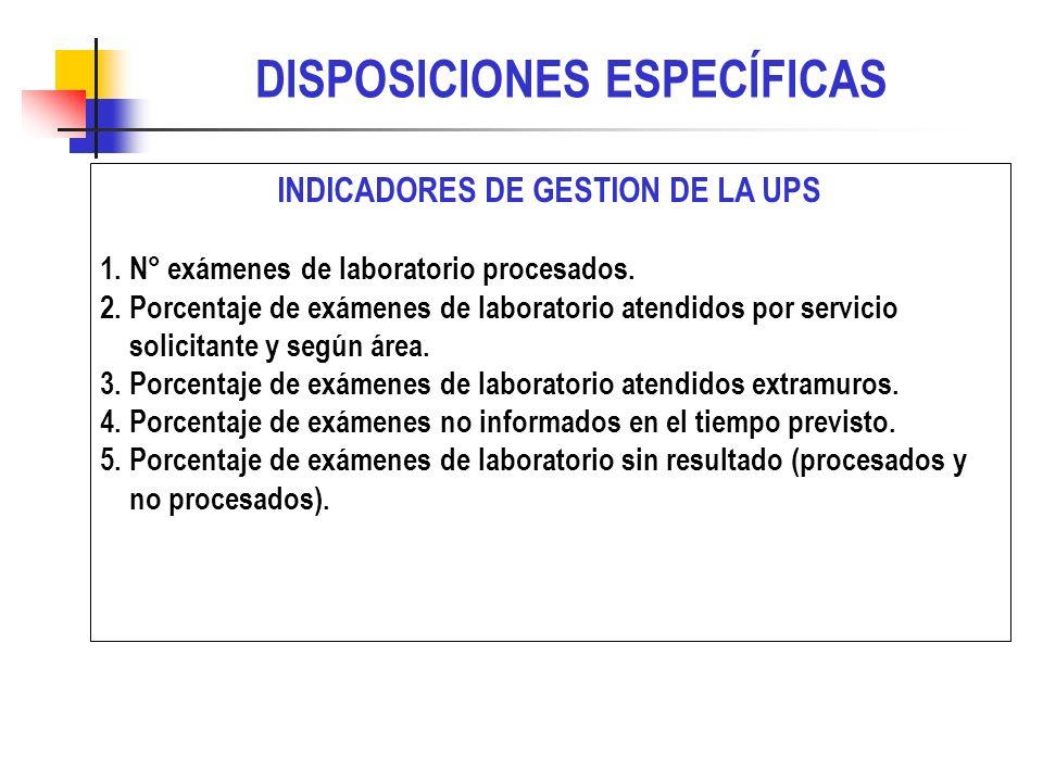 INDICADORES DE GESTION DE LA UPS