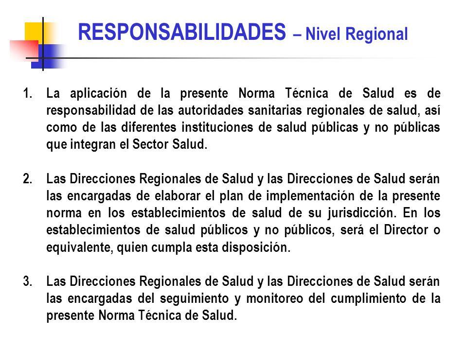 RESPONSABILIDADES – Nivel Regional