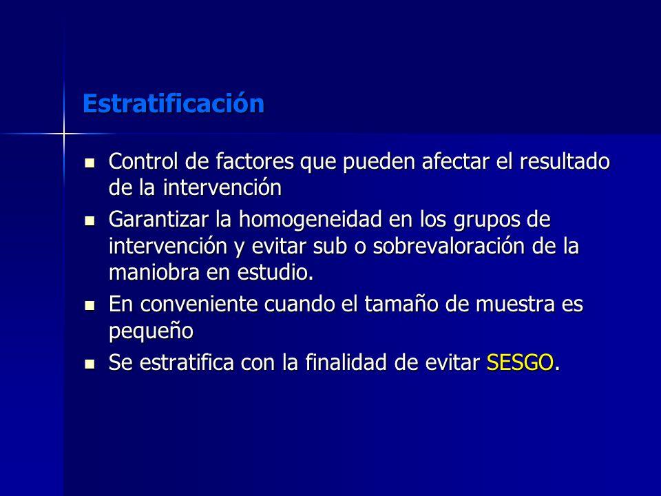 Estratificación Control de factores que pueden afectar el resultado de la intervención.