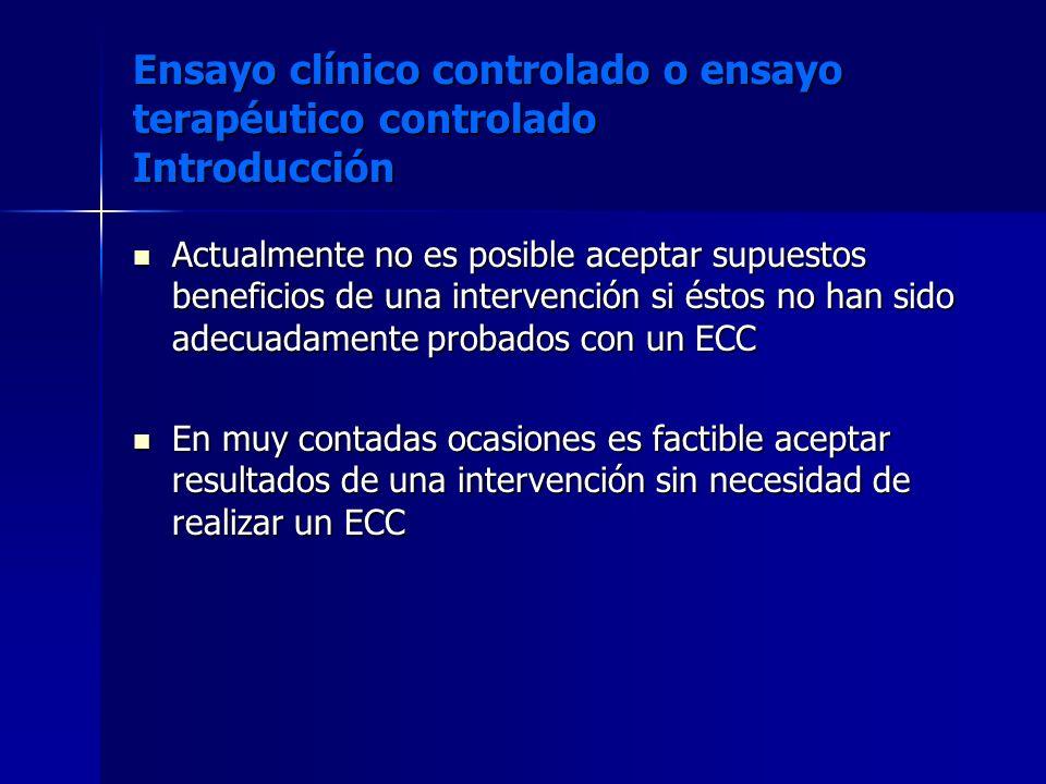 Ensayo clínico controlado o ensayo terapéutico controlado Introducción
