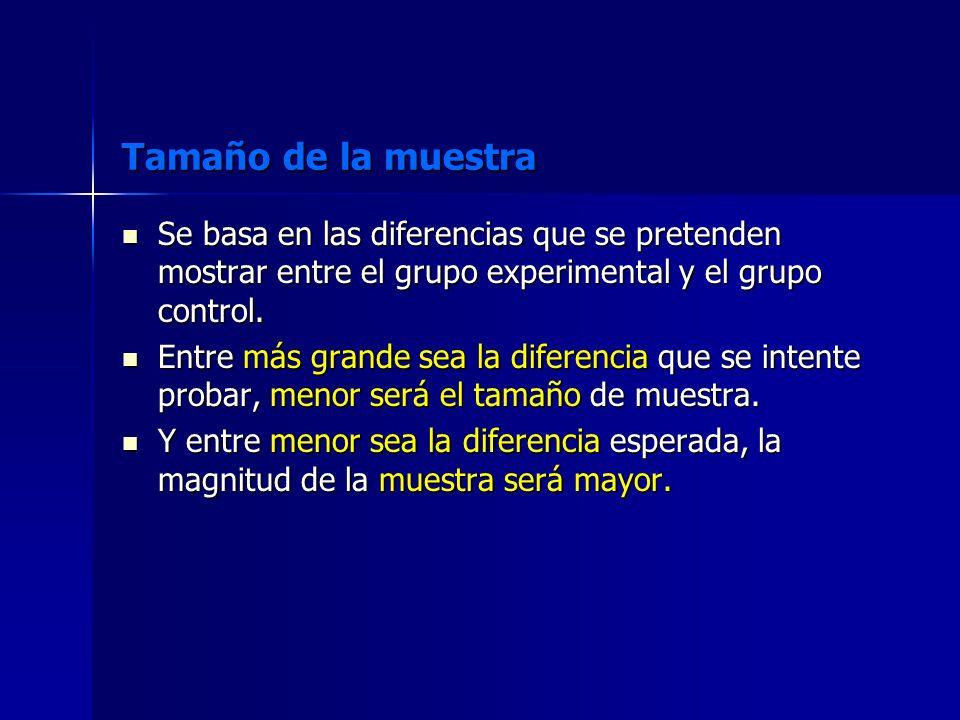 Tamaño de la muestra Se basa en las diferencias que se pretenden mostrar entre el grupo experimental y el grupo control.