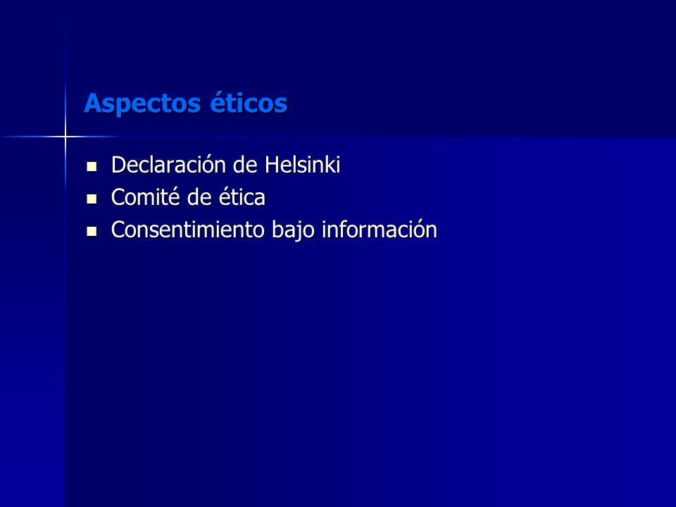 Aspectos éticos Declaración de Helsinki Comité de ética