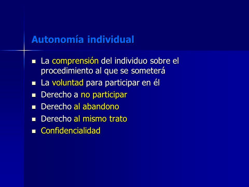 Autonomía individual La comprensión del individuo sobre el procedimiento al que se someterá. La voluntad para participar en él.
