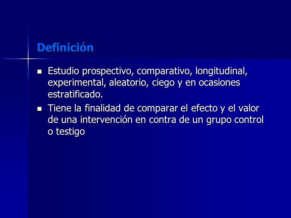 Definición Estudio prospectivo, comparativo, longitudinal, experimental, aleatorio, ciego y en ocasiones estratificado.
