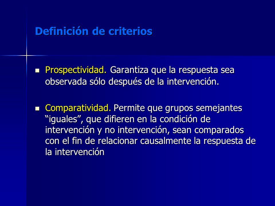 Definición de criterios