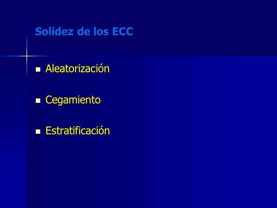 Solidez de los ECC Aleatorización Cegamiento Estratificación