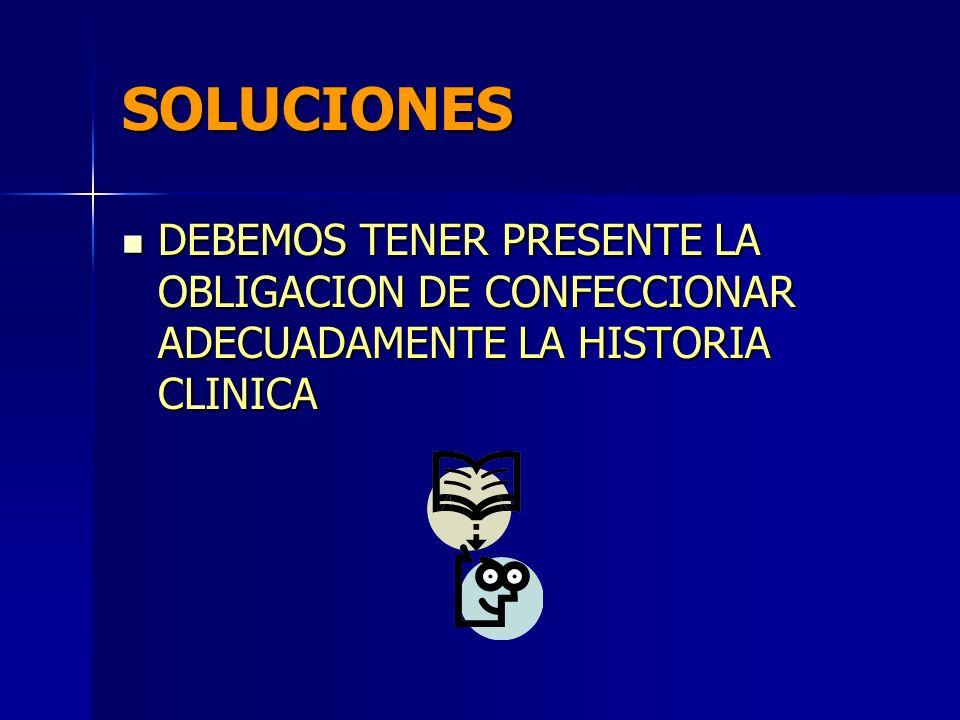 SOLUCIONES DEBEMOS TENER PRESENTE LA OBLIGACION DE CONFECCIONAR ADECUADAMENTE LA HISTORIA CLINICA