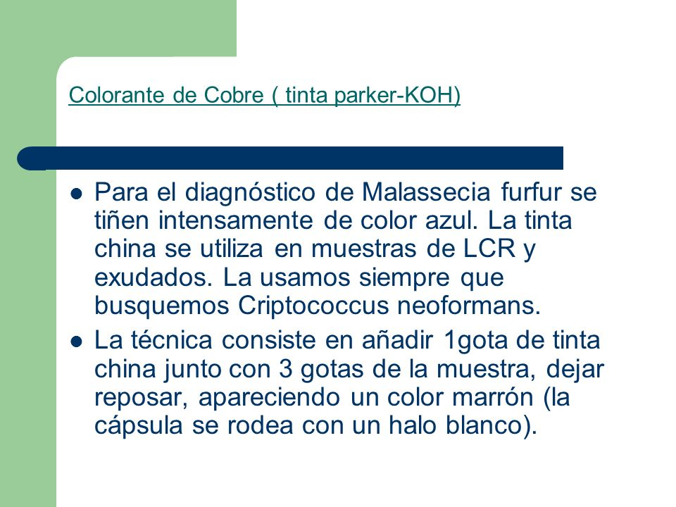 Colorante de Cobre ( tinta parker-KOH)