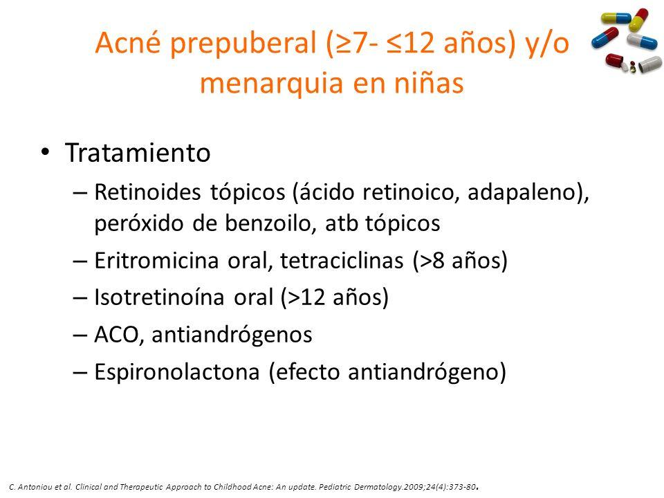 Acné prepuberal (≥7- ≤12 años) y/o menarquia en niñas
