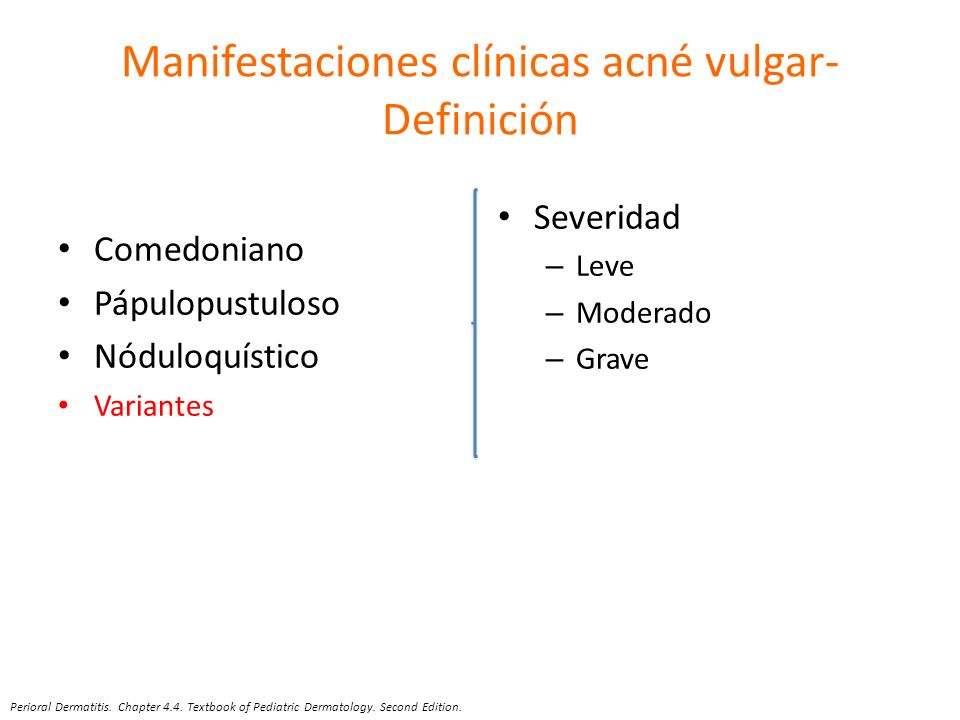 Manifestaciones clínicas acné vulgar-Definición