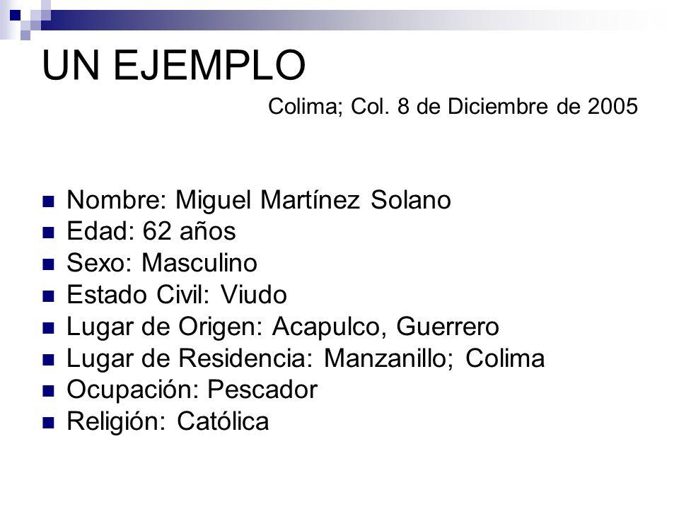 UN EJEMPLO Nombre: Miguel Martínez Solano Edad: 62 años