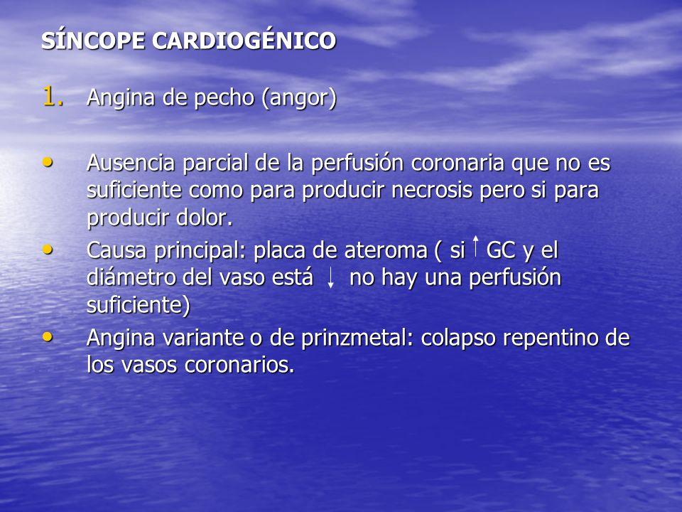 SÍNCOPE CARDIOGÉNICO Angina de pecho (angor)