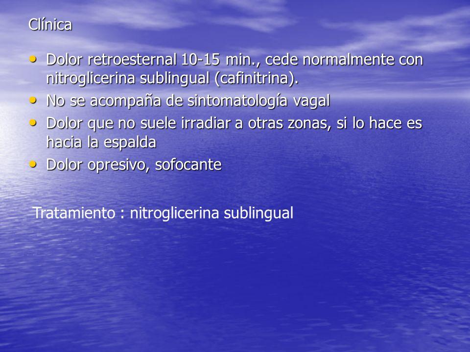Clínica Dolor retroesternal 10-15 min., cede normalmente con nitroglicerina sublingual (cafinitrina).