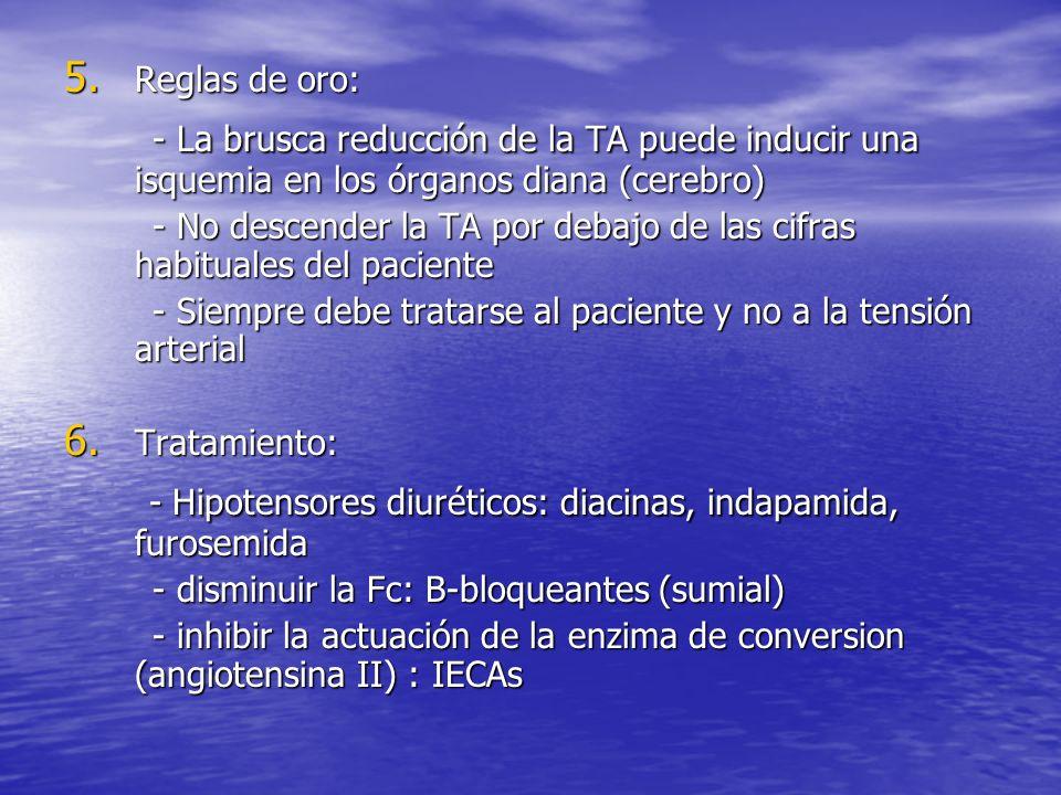 - Hipotensores diuréticos: diacinas, indapamida, furosemida