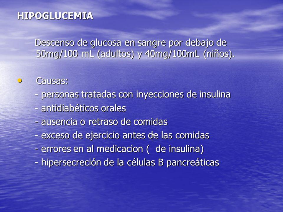 HIPOGLUCEMIA Descenso de glucosa en sangre por debajo de 50mg/100 mL (adultos) y 40mg/100mL (niños).