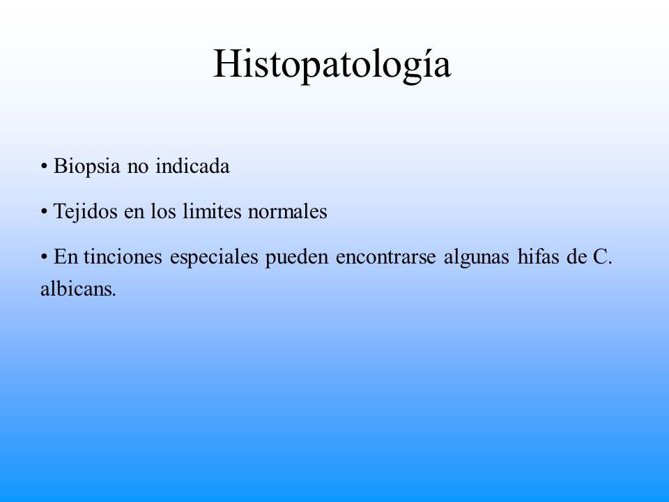 Histopatología Biopsia no indicada Tejidos en los limites normales