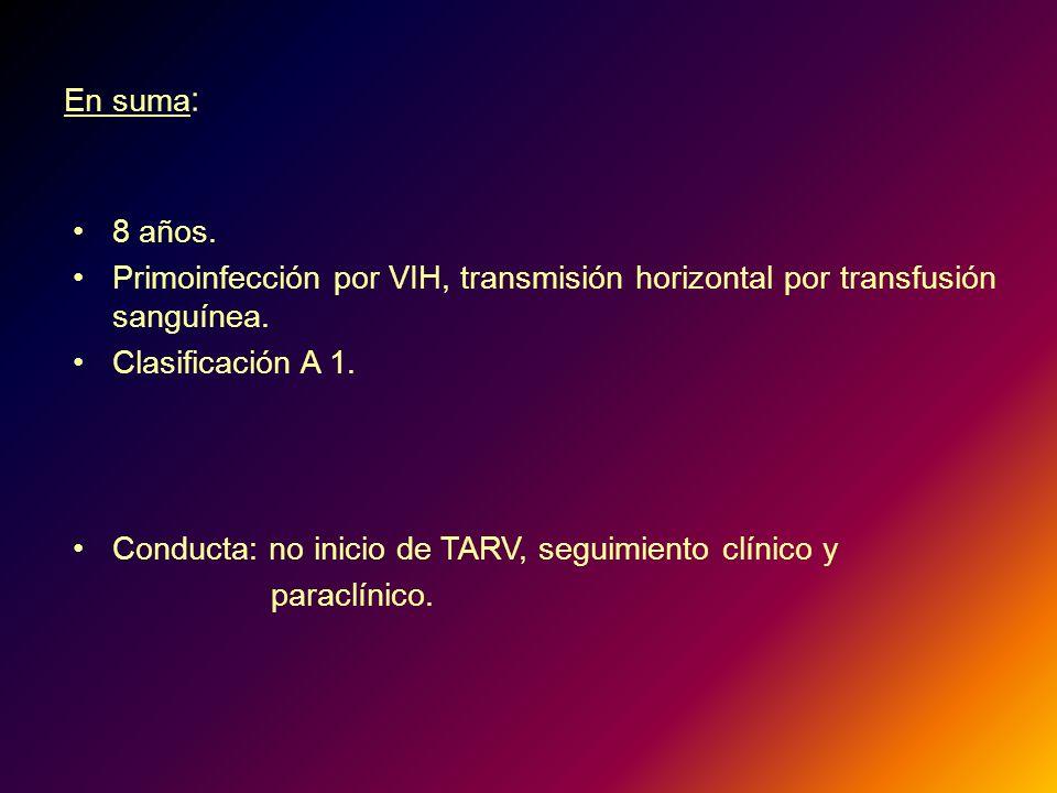 En suma: 8 años. Primoinfección por VIH, transmisión horizontal por transfusión sanguínea. Clasificación A 1.