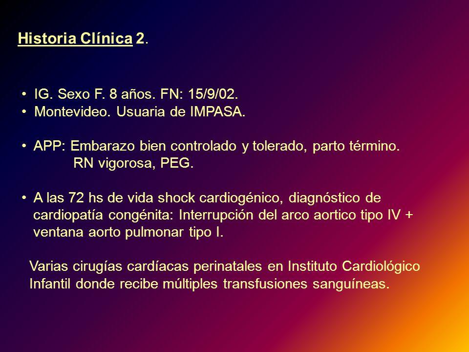 Historia Clínica 2. IG. Sexo F. 8 años. FN: 15/9/02.