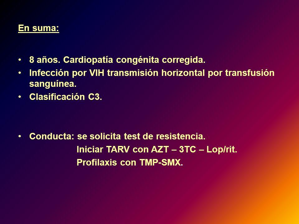 En suma: 8 años. Cardiopatía congénita corregida. Infección por VIH transmisión horizontal por transfusión sanguínea.