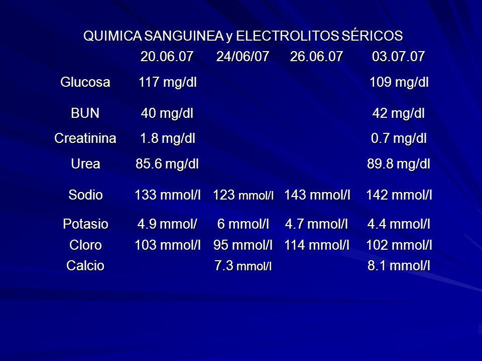 QUIMICA SANGUINEA y ELECTROLITOS SÉRICOS