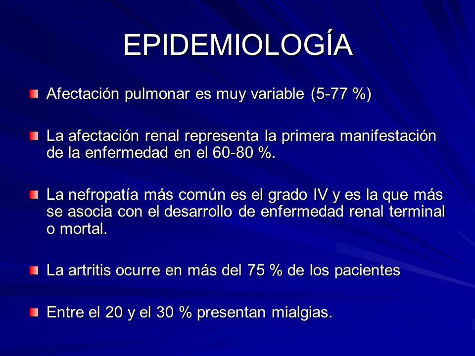 EPIDEMIOLOGÍA Afectación pulmonar es muy variable (5-77 %)