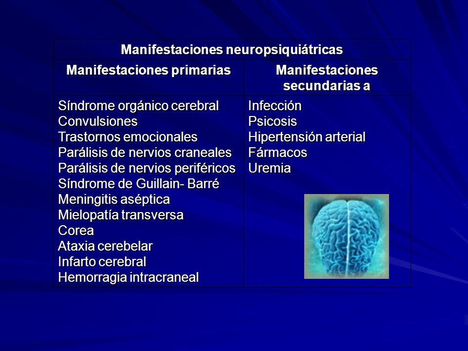 Manifestaciones neuropsiquiátricas Manifestaciones primarias