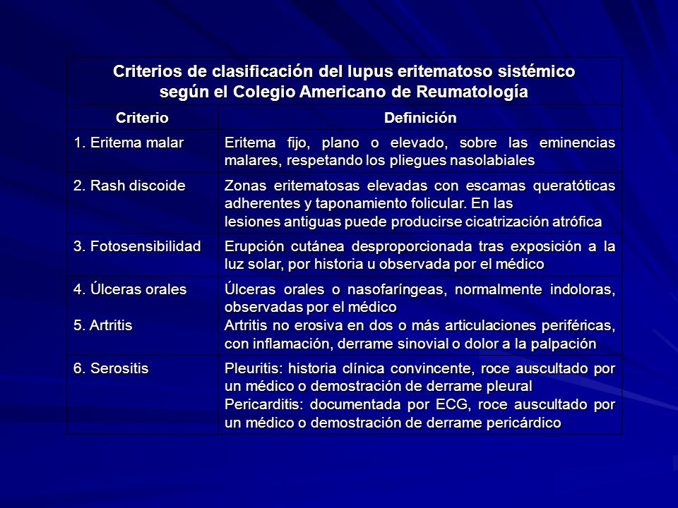 según el Colegio Americano de Reumatología