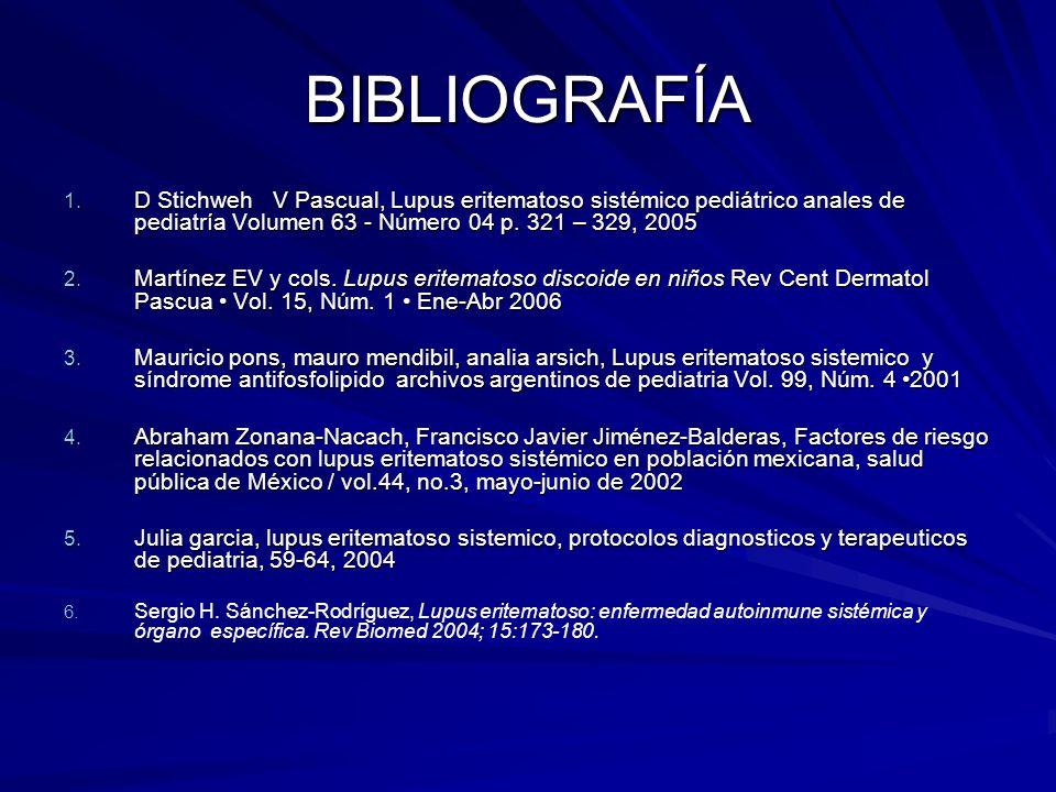 BIBLIOGRAFÍA D Stichweh V Pascual, Lupus eritematoso sistémico pediátrico anales de pediatría Volumen 63 - Número 04 p. 321 – 329, 2005.