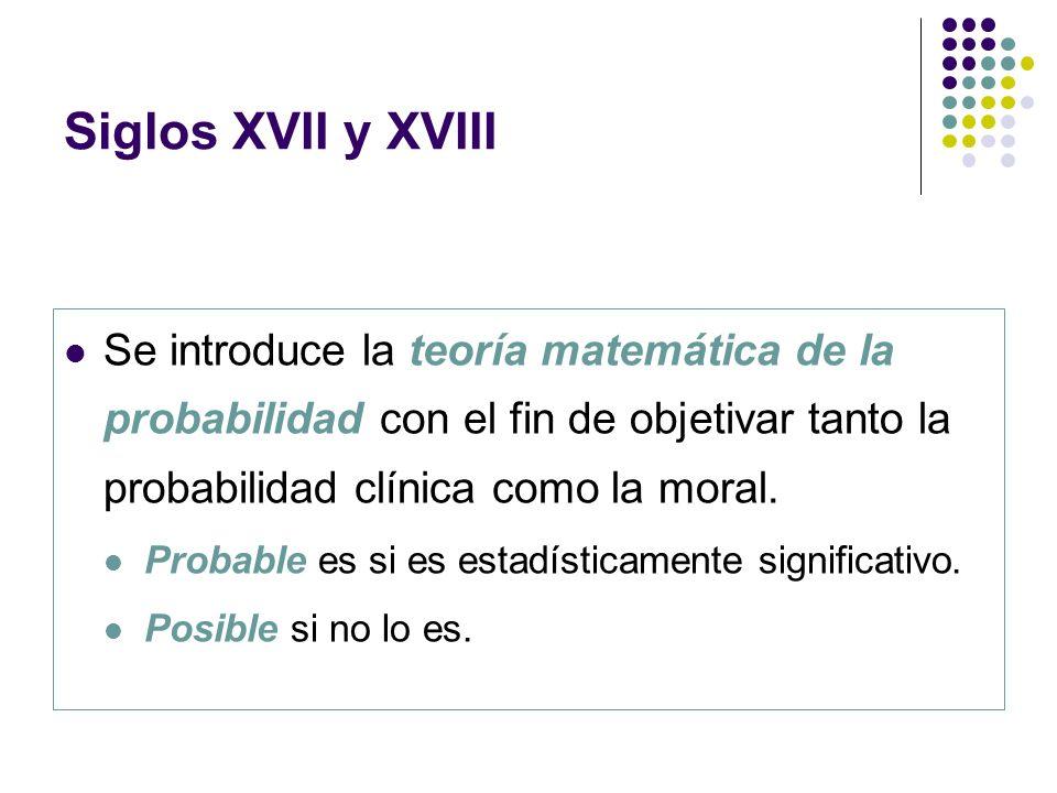 Siglos XVII y XVIII Se introduce la teoría matemática de la probabilidad con el fin de objetivar tanto la probabilidad clínica como la moral.