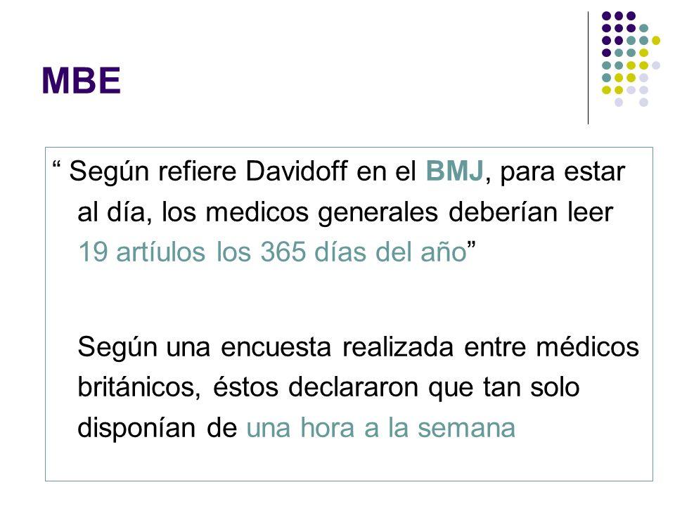 MBE Según refiere Davidoff en el BMJ, para estar al día, los medicos generales deberían leer 19 artíulos los 365 días del año