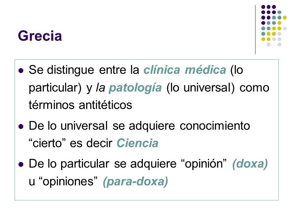 Grecia Se distingue entre la clínica médica (lo particular) y la patología (lo universal) como términos antitéticos.