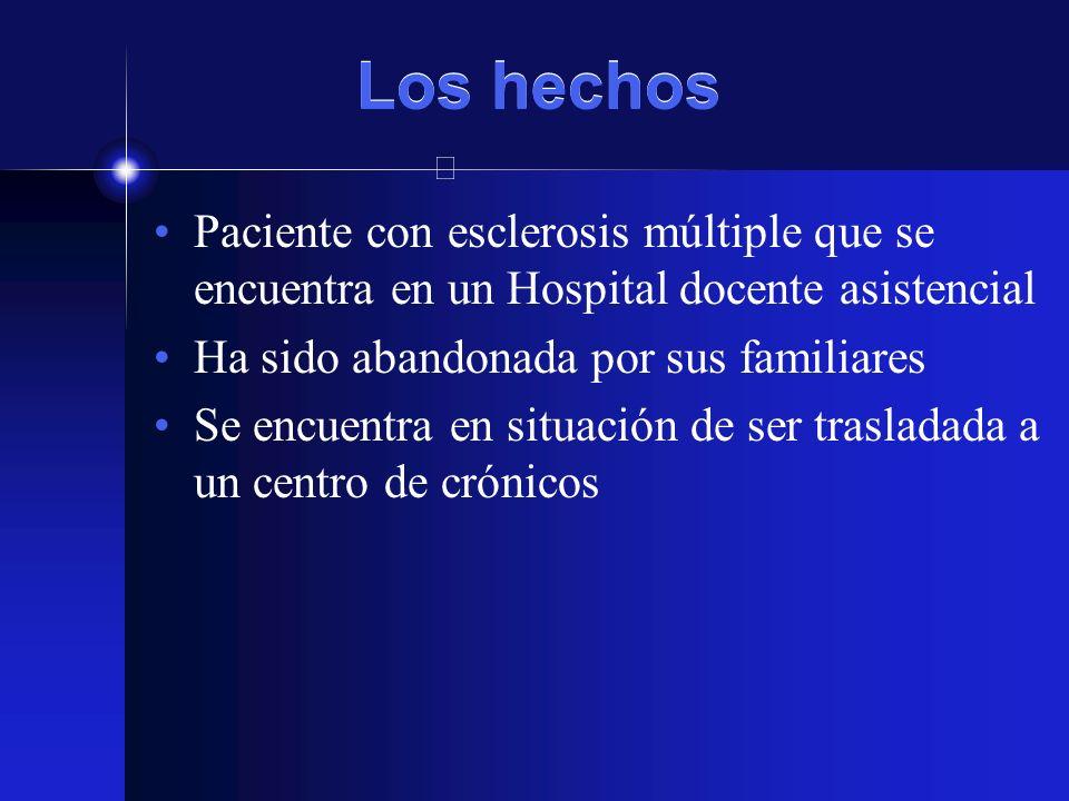 Los hechos Paciente con esclerosis múltiple que se encuentra en un Hospital docente asistencial. Ha sido abandonada por sus familiares.