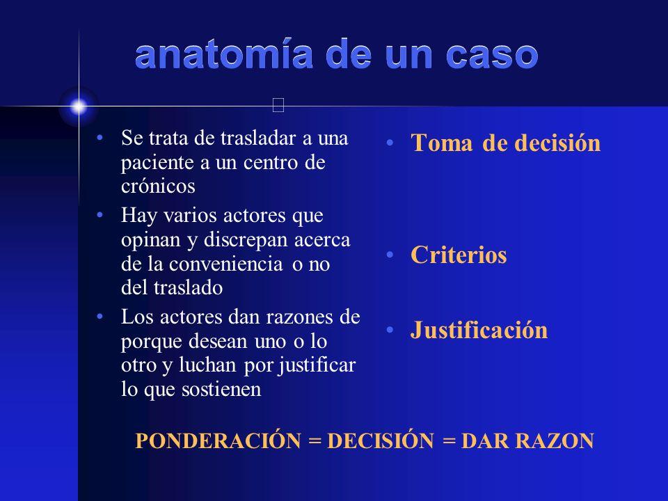 anatomía de un caso Toma de decisión Criterios Justificación