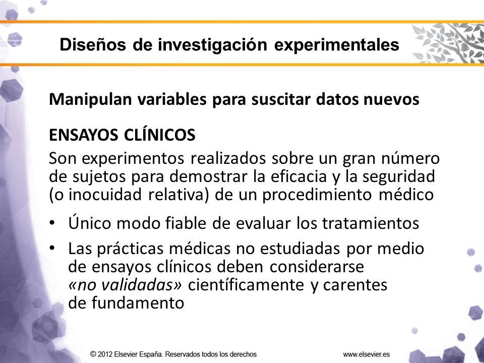 Manipulan variables para suscitar datos nuevos ENSAYOS CLÍNICOS