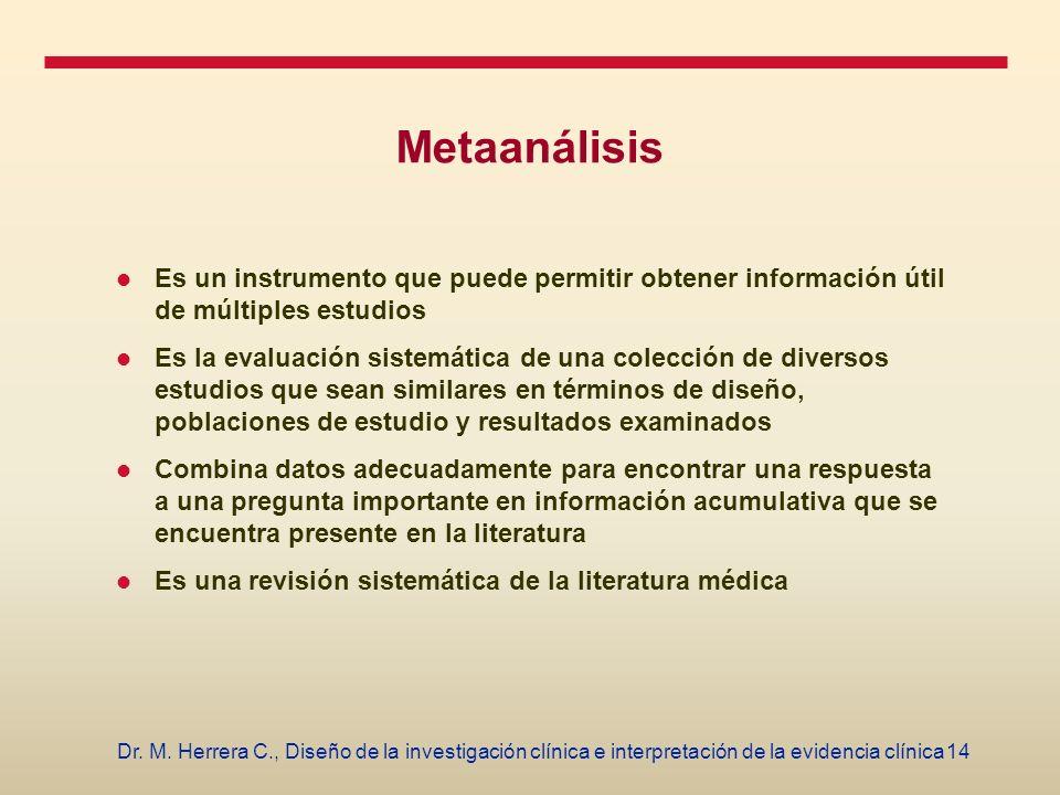 Metaanálisis Es un instrumento que puede permitir obtener información útil de múltiples estudios.