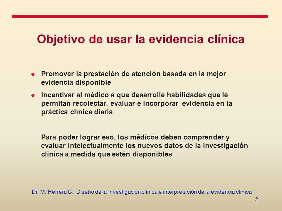 Objetivo de usar la evidencia clínica