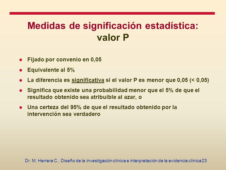 Medidas de significación estadística: valor P