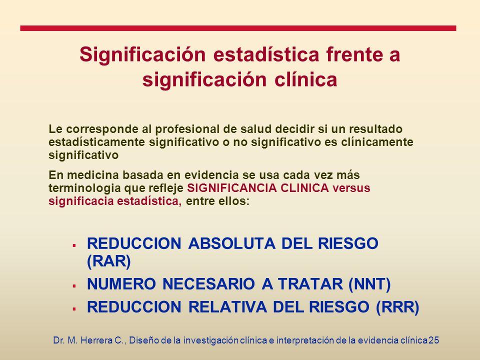 Significación estadística frente a significación clínica