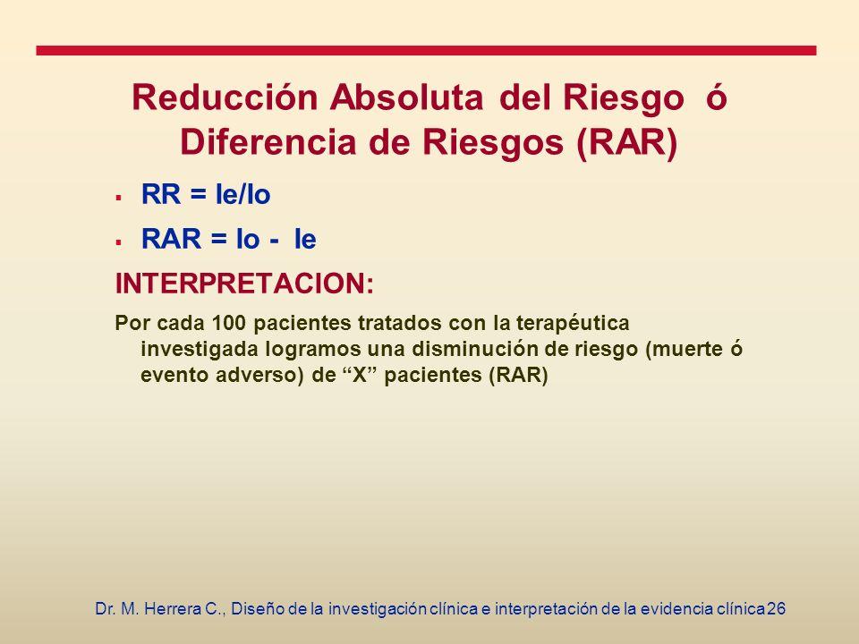 Reducción Absoluta del Riesgo ó Diferencia de Riesgos (RAR)