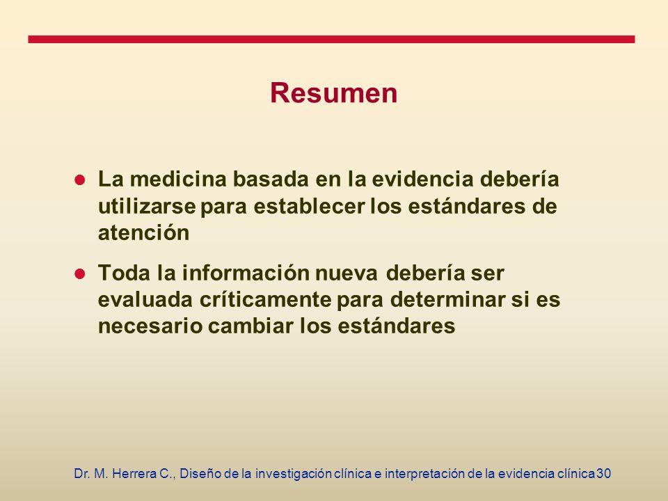 Resumen La medicina basada en la evidencia debería utilizarse para establecer los estándares de atención.