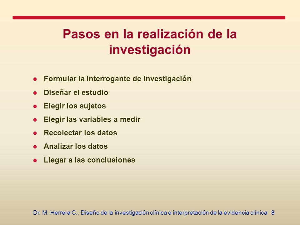 Pasos en la realización de la investigación