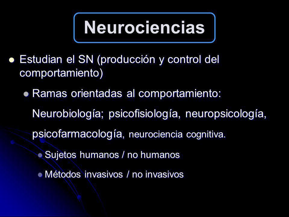 Neurociencias Estudian el SN (producción y control del comportamiento)