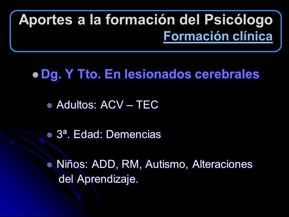 Aportes a la formación del Psicólogo Formación clínica