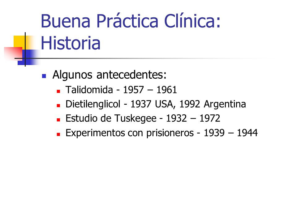 Buena Práctica Clínica: Historia