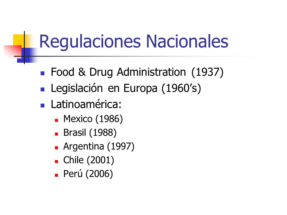Regulaciones Nacionales