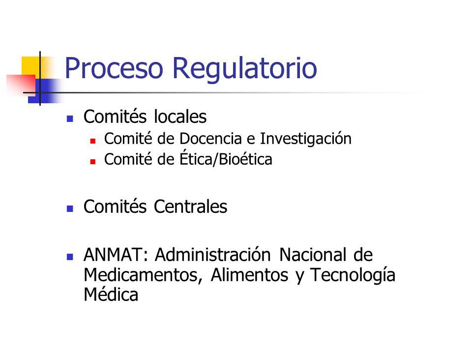 Proceso Regulatorio Comités locales Comités Centrales
