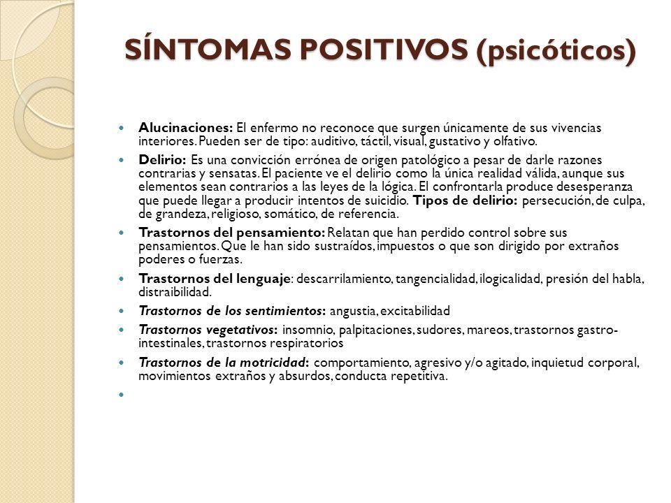 SÍNTOMAS POSITIVOS (psicóticos)