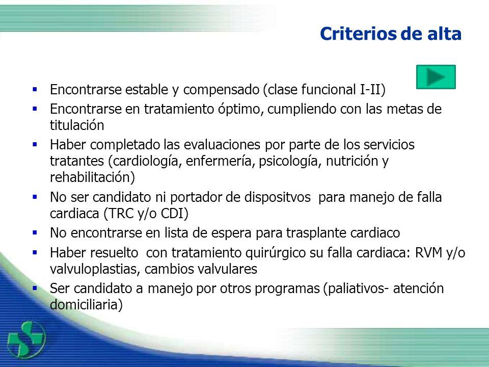 Criterios de alta Encontrarse estable y compensado (clase funcional I-II) Encontrarse en tratamiento óptimo, cumpliendo con las metas de titulación.