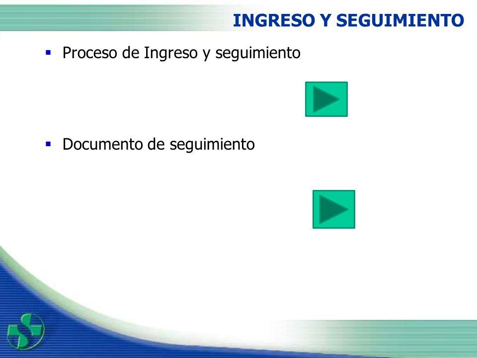 INGRESO Y SEGUIMIENTO Proceso de Ingreso y seguimiento
